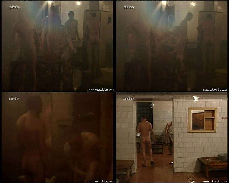 a group of young boys in the sauna naked