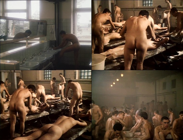 nude Russian soldiers taking shower in big group