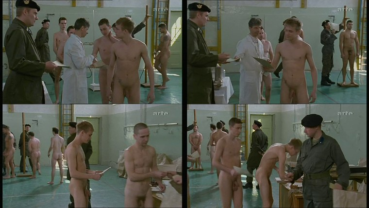 nude muscle college boys pass physical examinations in presence of soldiers in the uniform