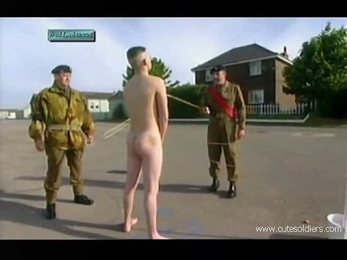 naked soldier hazing outdoors