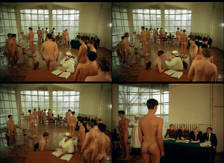 Naked Russian school boys passing army physical examinations